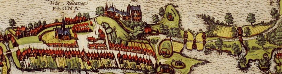 Ansicht der Stadt Plön von 1593, ein Ausschnitt aus Braun und Hogenberg, Civitates Orbis Terrarum